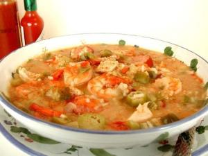 This is not my dad's gumbo, but it looks like this...