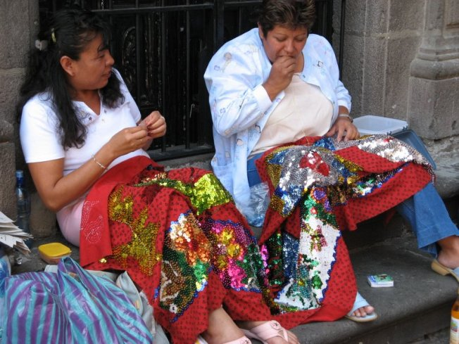 Women making China Poblana costumes